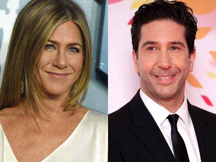 On the left: Jennifer Aniston at the 2020 SAG Awards. On the right: David Schwimmer at the 2020 National Television Awards.