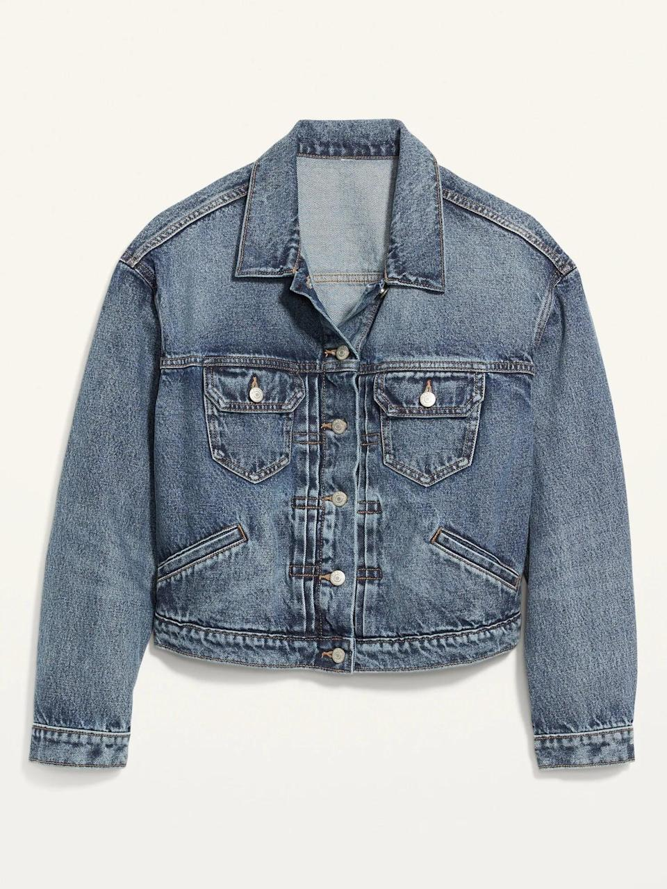 <p>An <span>Old Navy Cropped Medium-Wash Jean Jacket</span> ($32, originally $40) looks especially cute over dresses of any length so it's a great way to extend the life of your favorite summer one.</p>
