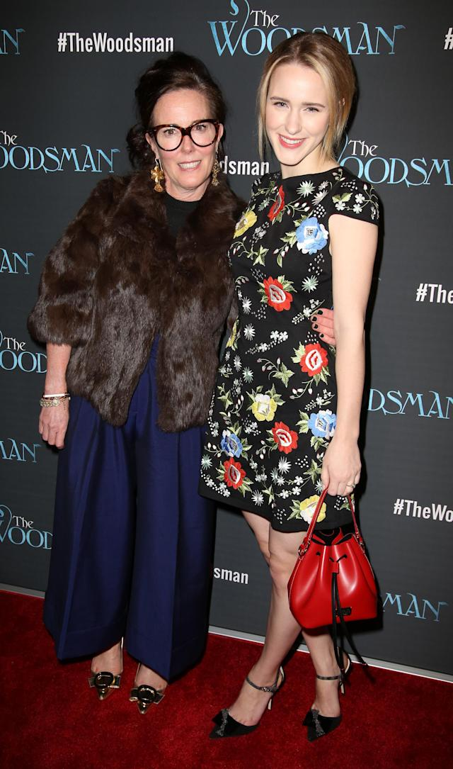Kate Spade and her niece, actress Rachel Brosnahan, attend the off-Broadway opening night performance of <i>The Woodsman</i> on Feb. 8, 2016, in New York City. (Photo: Getty Images)