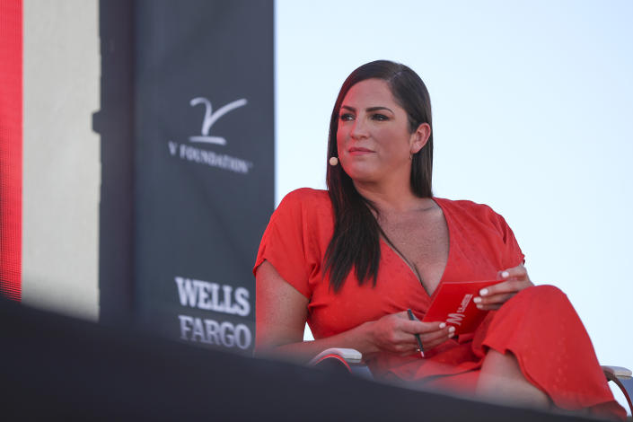NEWPORT BEACH, CALIFORNIA - OCTOBER 21: ESPNW columnist and ESPN reporter Sarah Spain speaks at the espnW Women + Sports Summit at The Resort at Pelican Hill on October 21, 2019 in Newport Beach, California. (Photo by Meg Oliphant/Getty Images)