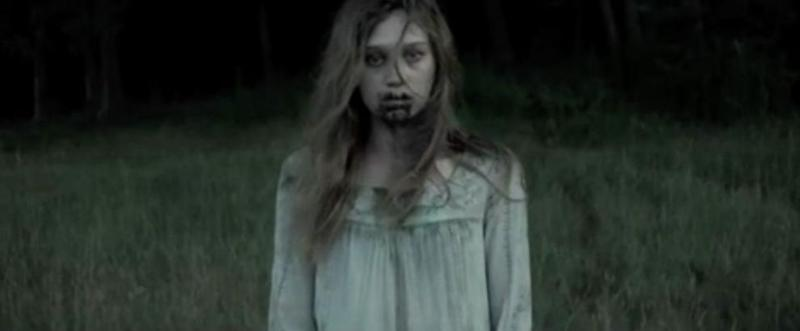 Another child is sen with a blood-stained dress exiting the woods by herself. Source: Supplied