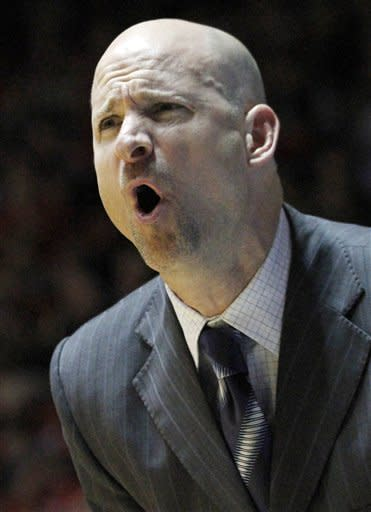 Mississippi head coach Andy Kennedy calls out to his team in the first half of their NCAA college basketball game against Mississippi State in Oxford, Miss., Wednesday, Jan. 18, 2012. (AP Photo/Rogelio V. Solis)