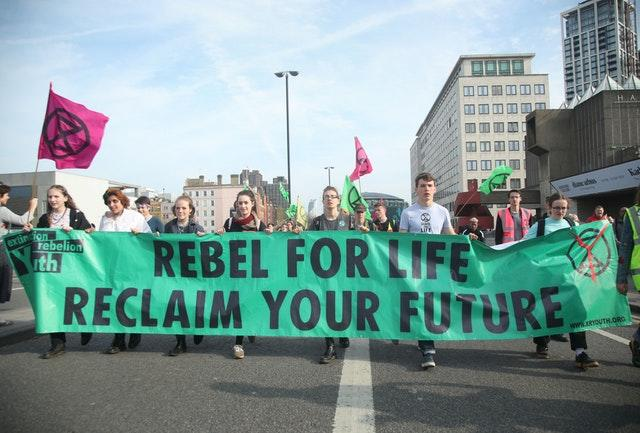 Protesters on London's South Bank