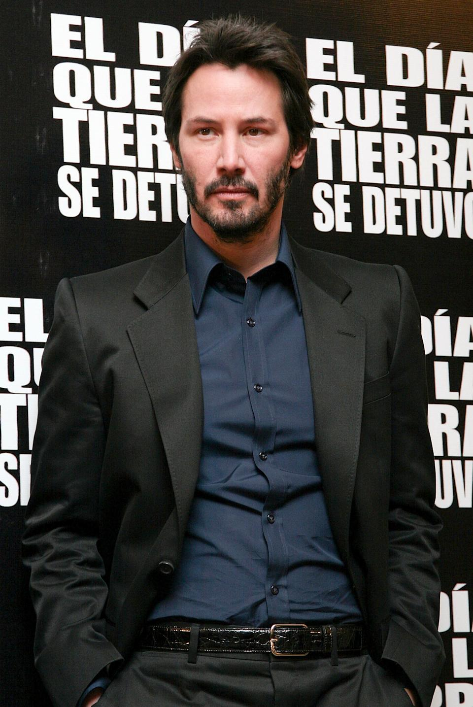 """Reeves attends a press conference for """"The Day the Earth Stood Still"""" at the Four Seasons Hotel in Mexico City."""
