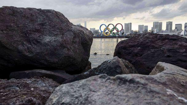 PHOTO: The Olympic rings are seen on display at the Odaiba waterfront in Tokyo, Japan, on Feb. 2, 2021. (Behrouz Mehri/AFP via Getty Images)