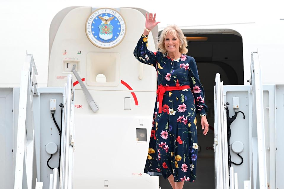 First lady Jill Biden will take flight to attend the 2020 Tokyo Olympics Opening Ceremony.
