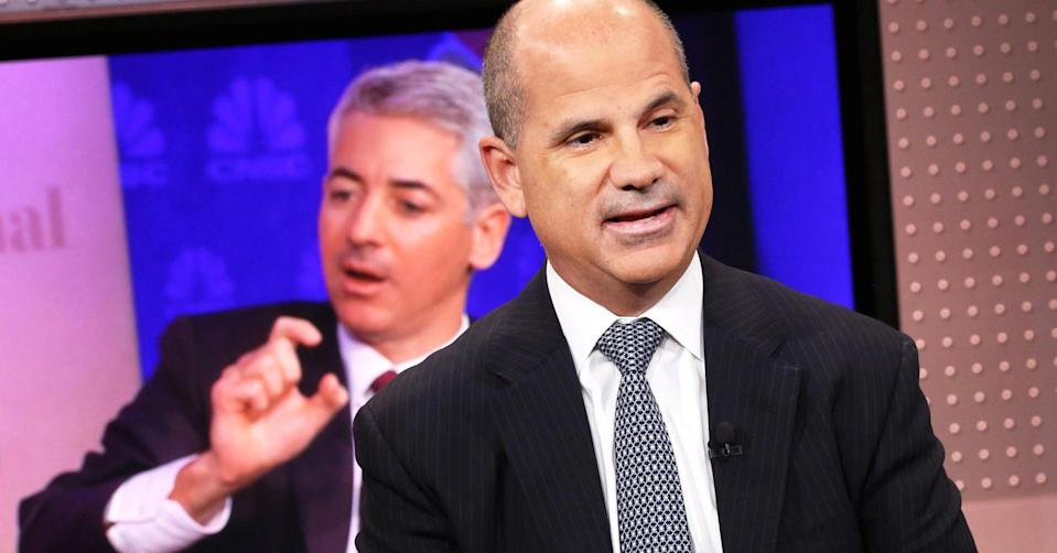 ADP CEO Carlos Rodriquez on CNBC last year, with an image of investor Bill Ackman in the background. Source: CNBC
