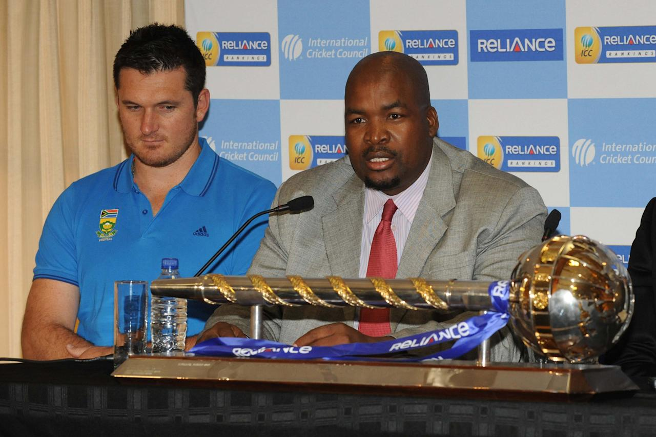 JOHANNESBURG, SOUTH AFRICA - MARCH 28: Graeme Smith of South Africa and Chris Nenzani, President of CSA, attend the ICC Test Championship mace handover, at Bidvest Wanderers Stadium on March 28, 2013 in Johannesburg, South Africa. (Photo by Lee Warren/Gallo Images/Getty Images)
