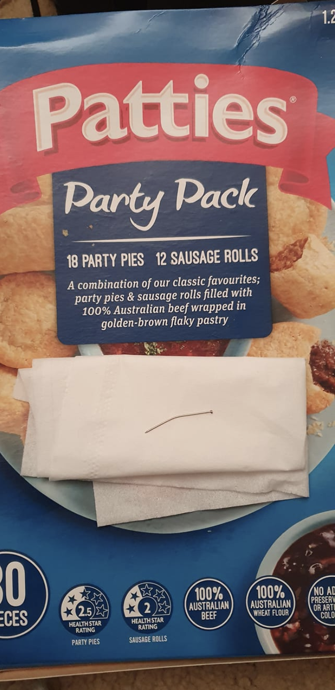 The man's partner shared a photo of the problem pack and the nail online.