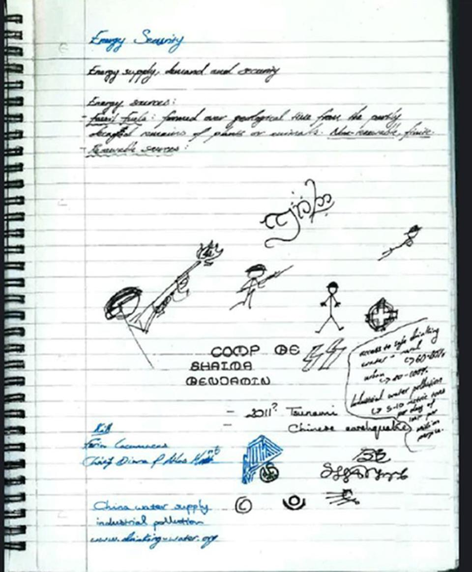 Doodles and notes in one of Hannam's notebooks. (PA)