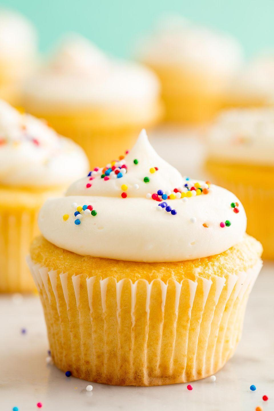 """<p>For the cupcake purists. </p><p>Get the recipe from <a href=""""https://www.delish.com/cooking/recipe-ideas/recipes/a58184/perfect-vanilla-cupcakes-recipe/"""" rel=""""nofollow noopener"""" target=""""_blank"""" data-ylk=""""slk:Delish"""" class=""""link rapid-noclick-resp"""">Delish</a>.</p>"""