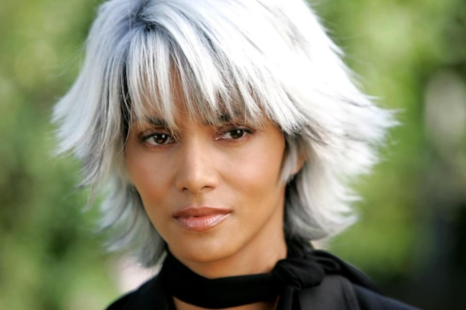 """<p>As Storm, aka Ororo Munroe, in the <strong>X-Men</strong> series, <a class=""""link rapid-noclick-resp"""" href=""""https://www.popsugar.com/Halle-Berry"""" rel=""""nofollow noopener"""" target=""""_blank"""" data-ylk=""""slk:Halle Berry"""">Halle Berry</a>'s character has the ability to change the weather. Her silvery-white hair makes this sorceress all the more alluring.</p>"""