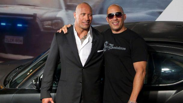 PHOTO: Dwayne Johnson (The Rock) and Vin Diesel pose for photographers during the premiere of the 'Fast and Furious 5,' April 15, 2011, in Rio de Janeiro, Brazil. (Buda Mendes/LatinContent/Getty Images)
