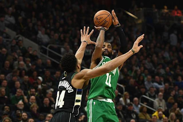 "<a class=""link rapid-noclick-resp"" href=""/nba/players/4840/"" data-ylk=""slk:Kyrie Irving"">Kyrie Irving</a> and <a class=""link rapid-noclick-resp"" href=""/nba/players/5185/"" data-ylk=""slk:Giannis Antetokounmpo"">Giannis Antetokounmpo</a> are two of the NBA's most exciting players. (Getty Images)"