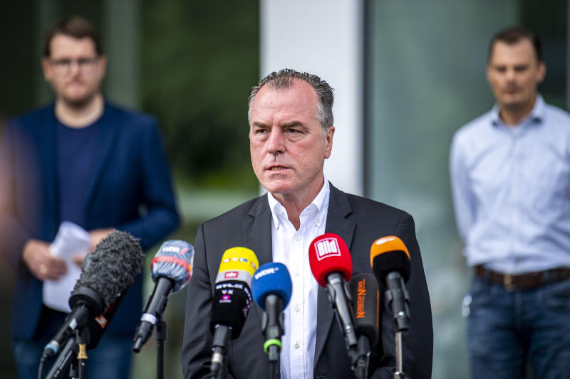 20 June 2020, North Rhine-Westphalia, Rheda-Wiedenbrück: Clemens Tönnies, managing director of Tönnies-Holding, comments on the accusations of the district administration in the corona eruption at the meat plant. Tönnies has to shut down its main production facility in Rheda-Wiedenbrück in Westphalia until further notice. Photo: David Inderlied/dpa (Photo by David Inderlied/picture alliance via Getty Images)