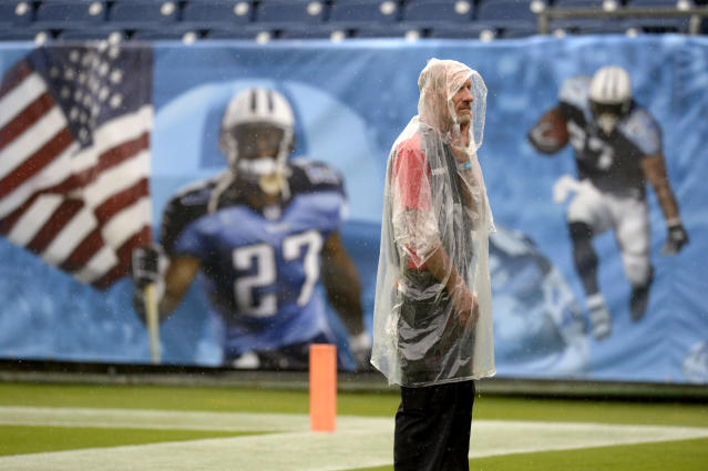 A security worker stands in the rain in Nissan Stadium before an NFL football game between the Tennessee Titans and the Buffalo Bills Sunday, Oct. 6, 2019, in Nashville, Tenn. (AP Photo/Mark Zaleski)
