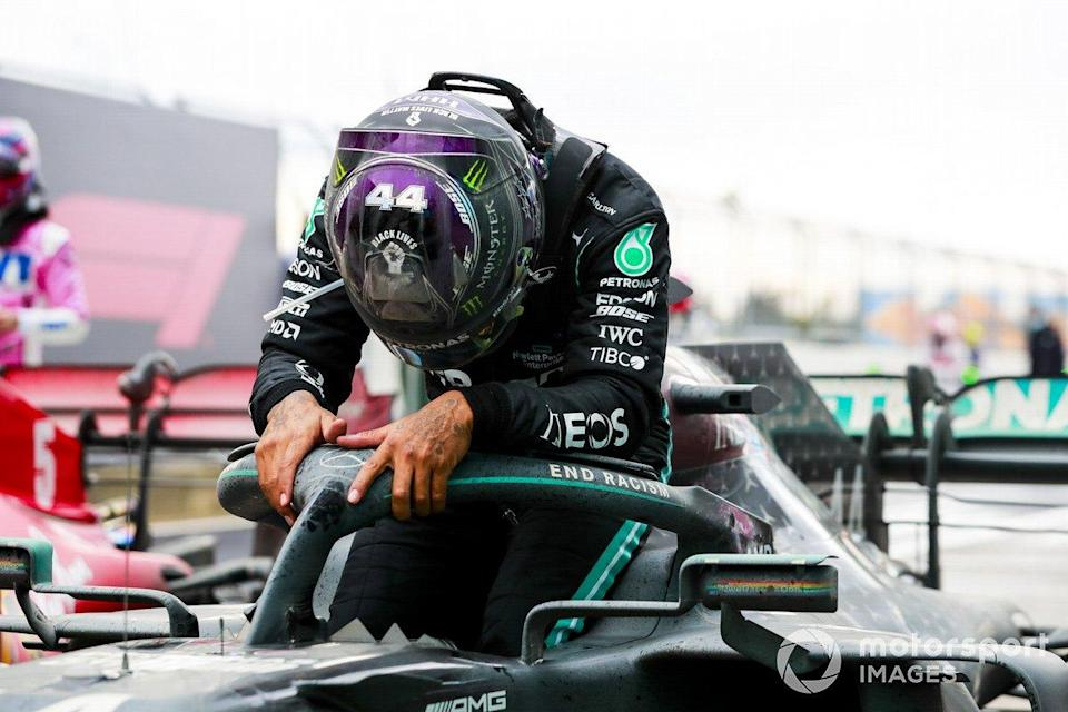 "Race Winner Lewis Hamilton, Mercedes-AMG F1 celebrates his 7th World Championship title in Parc Ferme <span class=""copyright"">Steven Tee / Motorsport Images</span>"