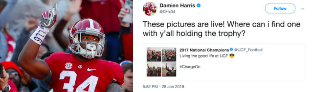 "<a class=""link rapid-noclick-resp"" href=""/ncaaf/players/257022/"" data-ylk=""slk:Damien Harris"">Damien Harris</a> had some harsh words for UCF. (Getty Images/@DHx34 on Twitter)"