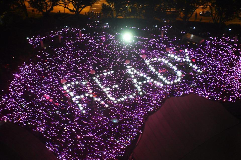 The light up at Pink Dot 2018 in Singapore. (Photo: Stefanus Ian/Yahoo Lifestyle Singapore)