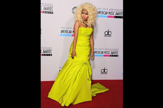 Nicki Minaj goes for a striking yellow dress by Monique Lhuillier for the 40th Anniversary America Music Awards last November 2012.