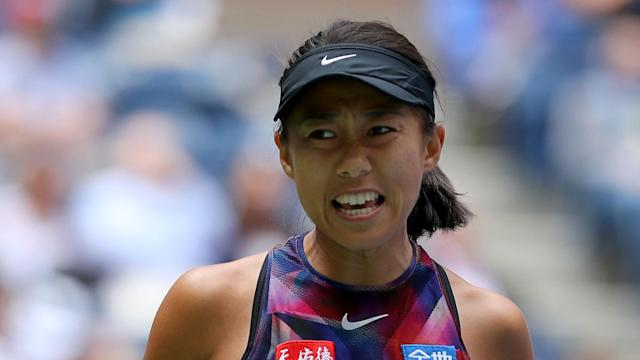 Aleksandra Krunic's first WTA Tour final ended in defeat as Zhang Shuai claimed the Guangzhou Open title for the second time.