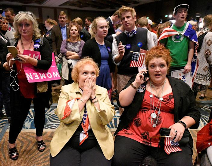 <p>Lyn Thrasher (front L) and her daughter Marley Thrasher react to a stream of news showing a surge by Republican presidential nominee Donald Trump in the national contest at Republican Governor Pat McCrory's election-night party in Raleigh, North Carolina, Nov. 8, 2016. (Photo: Jonathan Drake/Reuters) </p>