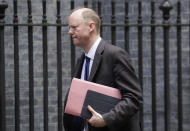 FILE - In this file photo dated Friday, May 1, 2020, Britain's Chief Medical Officer Chris Whitty arrives at Downing Street in London. Lewis Hughes and another man filmed themselves harassing Chris Whitty in a London park has pleaded guilty to assault, in court Friday July 30, 2021. (AP Photo/Kirsty Wigglesworth, FILE)