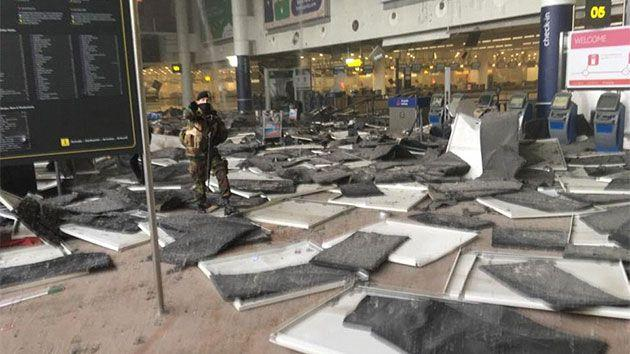The departures terminal in a Brussels airport was targeted by terrorists. Photo: Twitter