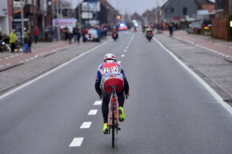 This is the view of Luca Paolini the peloton had for the final six kilometres of the race
