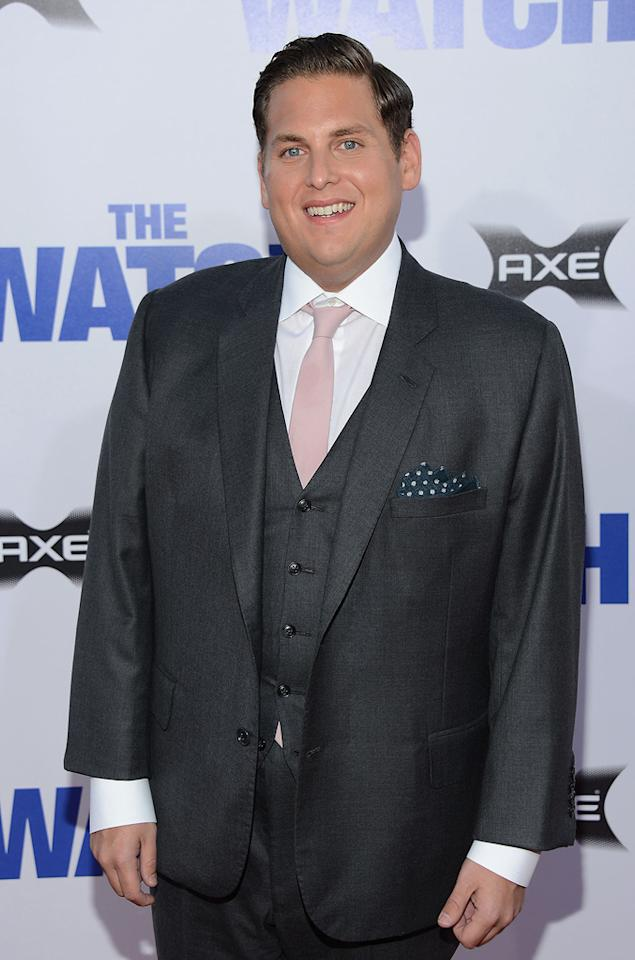 "Jonah Hill attends the Los Angeles premiere of ""The Watch"" on July 23, 2012."