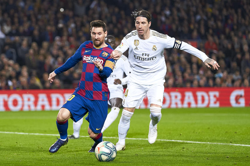 Lionel Messi and Barcelona square off against Sergio Ramos and Real Madrid yet again — and trends favor Barcelona. (Photo by Quality Sport Images/Getty Images)