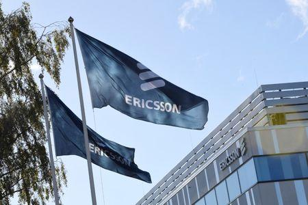 Flags with Ericsson logo are pictured outside company's head office in Stockholm, Sweden, October 4 , 2016. TT NEWS AGENCY/Maja Suslin via REUTERS