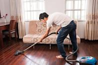 """What you want to hear while you're using your vacuum is a consistent purr, not a sudden roar. So, if it sounds like your vacuum cleaner is working extra hard to pick up dirt, it's time to replace your machine. If you keep using it anyway, that's """"a sure way to fry up your machine,"""" explains Ruth."""