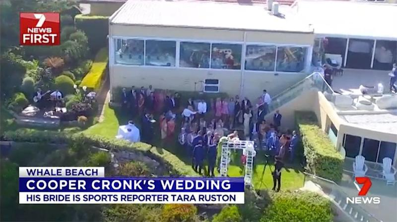 The crowds gather for the nuptials. Pic: Ch7