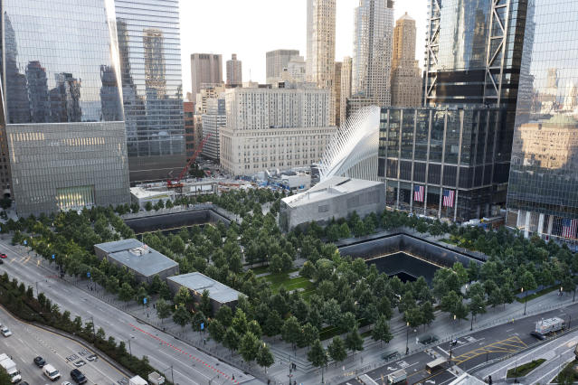 <p>The National September 11 Memorial and Museum are set for a memorial service, Monday, Sept. 11, 2017, in New York. Thousands of 9/11 victims' relatives, survivors, rescuers and others are expected to gather Monday at the World Trade Center to remember the deadliest terror attack on American soil. Nearly 3,000 people died when hijacked planes slammed into the trade center, the Pentagon and a field near Shanksville, Pa., on Sept. 11, 2001. (Photo: Mark Lennihan/AP) </p>