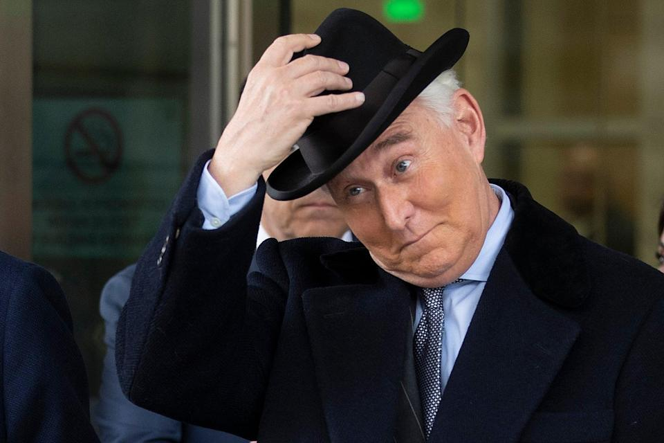 Roger Stone, former adviser and confidante to U.S. President Donald Trump, leaves the Federal District Court for the District of Columbia after being sentenced February 20, 2020 in Washington, DC. (Getty Images)