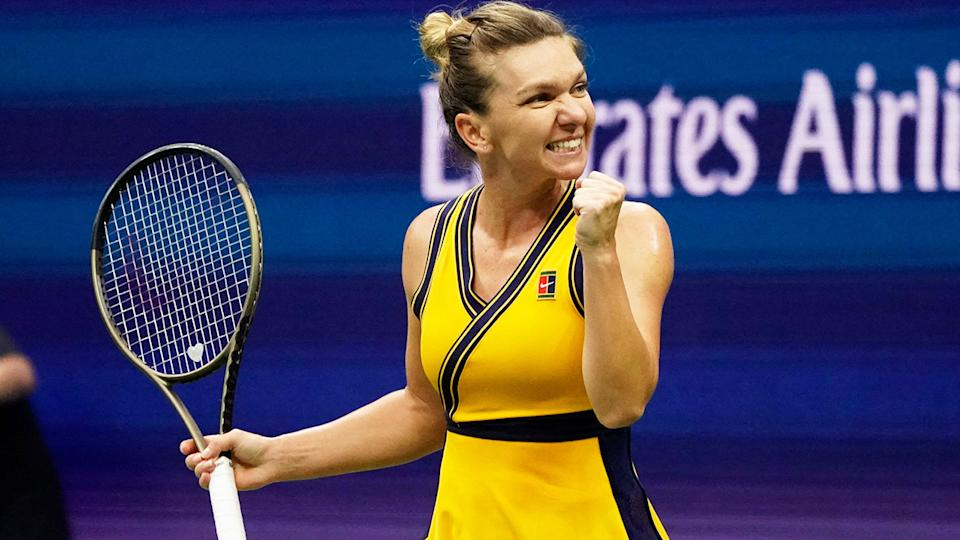 Simona Halep celebrates her win over Kristina Kucova at the US Open. (Photo by TIMOTHY A. CLARY/AFP via Getty Images)
