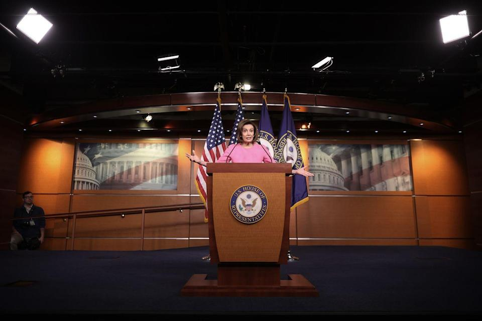<p>Pelosi spoke at her weekly press conference, addressing the ongoing coronavirus outbreak. </p>