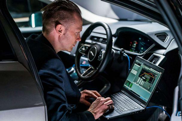 PHOTO: It took years to perfect the soundtrack of Jaguar's all-electric I-PACE SUV. Iain Suffield, a sound and vibration engineer at Jaguar, fine-tunes the sound of the vehicle's Audible Vehicle Alert System. (Jaguar Land Rover)