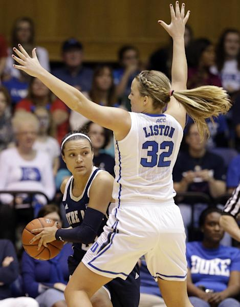 Notre Dame's Kayla McBride is guarded by Duke's Tricia Liston (32) during the first half of an NCAA college basketball game in Durham, N.C., Sunday, Feb. 2, 2014. (AP Photo/Gerry Broome)