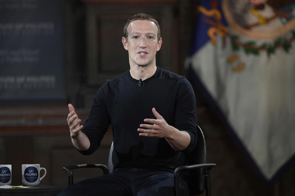 FILE - In this Oct. 17, 2019, file photo Facebook CEO Mark Zuckerberg speaks at Georgetown University in Washington. A state-level antitrust investigation launched last month into the social networking giant now has the backing of a bipartisan group of 47 attorneys general, New York Attorney General Letitia James said Tuesday, Oct. 22. (AP Photo/Nick Wass, File)