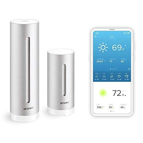 """<p><strong>Netatmo</strong></p><p>amazon.com</p><p><strong>$166.49</strong></p><p><a href=""""https://www.amazon.com/dp/B0095HVAKS?tag=syn-yahoo-20&ascsubtag=%5Bartid%7C10055.g.33443846%5Bsrc%7Cyahoo-us"""" target=""""_blank"""">SHOP NOW</a></p><p>This smart system communicates with a compatible app or personal assistants like Alexa or Siri. It <strong>comes with two cylindrical towers (read: sensors), so you can place one indoors and one out</strong><strong>. </strong>Though setup can be cumbersome at first, the app is intuitive and easy to use, plus offers detailed updates on indoor and outdoor temp, humidity, and air pressure.</p>"""