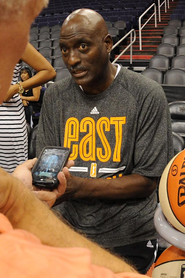PHOENIX, AZ - JULY 18: Michael Cooper, Head Coach of the Eastern Conference All-Stars, speaks to the media during All-Star Practice and Media Availability on July 18, 2014 at US Airways Center in Phoenix, Arizona. (Photo by Andrew D. Bernstein/NBAE via Getty Images)