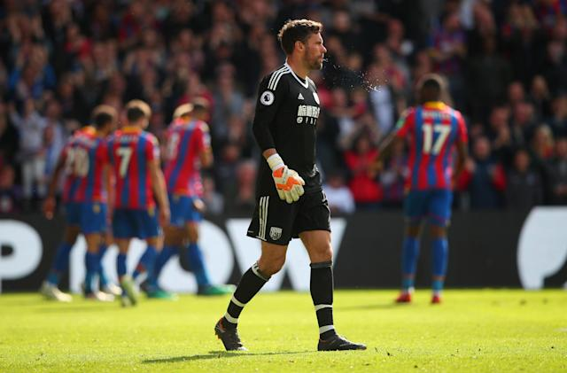 "Soccer Football - Premier League - Crystal Palace vs West Bromwich Albion - Selhurst Park, London, Britain - May 13, 2018 West Bromwich Albion's Ben Foster looks dejected after Crystal Palace's Patrick van Aanholt scores their second goal REUTERS/Hannah McKay EDITORIAL USE ONLY. No use with unauthorized audio, video, data, fixture lists, club/league logos or ""live"" services. Online in-match use limited to 75 images, no video emulation. No use in betting, games or single club/league/player publications. Please contact your account representative for further details."