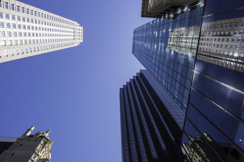Several skyscrapers towering in a 360-degree view.