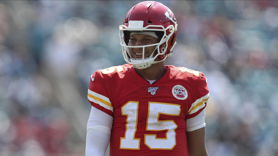 Kansas City Chiefs quarterback Patrick Mahomes (15) smiles on the field during an NFL football game against the Jacksonville Jaguars, Sunday, Sept. 8, 2019, in Jacksonville, Fla. The Chiefs defeated the Jaguars 40-26. (AP Photo/Perry Knotts)