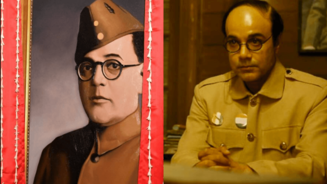 Netaji's portrait in Rashtrapati Bhavan (on left), Actor Prosenjit Chatterji in Gumnaami (on right)