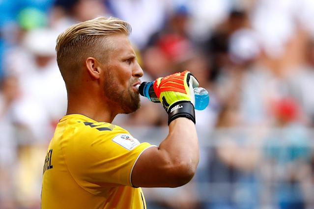 Soccer Football - World Cup - Group C - Denmark vs Australia - Samara Arena, Samara, Russia - June 21, 2018 Denmark's Kasper Schmeichel during the match REUTERS/Michael Dalder