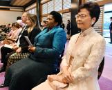 Hong Kong's Chief Executive Carrie Lam attends the enthronement ceremony of Japan's Emperor Naruhito at the Imperial Palace, in Tokyo, Tuesday, Oct. 22, 2019. Japan's Naruhito proclaimed himself Emperor during an enthronement ceremony at the Imperial Palace, declaring himself the country's 126th monarch.(Kyodo News via AP)