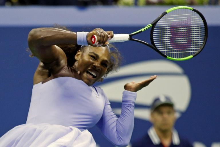 Serena Williams hits a return to Carina Witthoeft